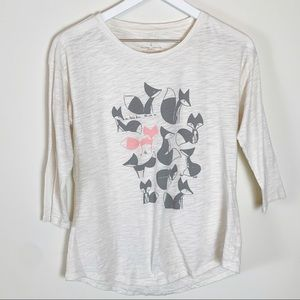 Sonoma S Fox Graphic T-Shirt 3/4 Sleeve Ivory Top